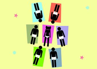 Illustration Belästitung im Urlaub; Strand; Frau oben ohne; Männer; belästigen; aufdringlich; umzingeln