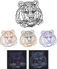 tiger, portrait, black, colored, stylized, line, line drawing