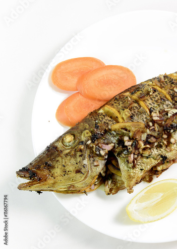 Oven baked fish with herbs and spices stock photo and for Baked fish seasoning
