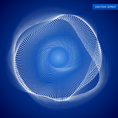 Abstraction white wave background, points and lines, blue wallpaper, vector design