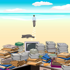 Cluttered. Beach. One goes along the beach away from the cluttered desktop, throwing jacket . Vector illustration.