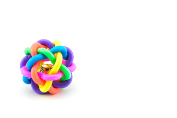 colourful dog ball toy isolated on a white background
