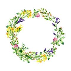 Watercolor wild flowers wreath