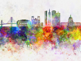 Wall Mural - San Francisco skyline in watercolor background