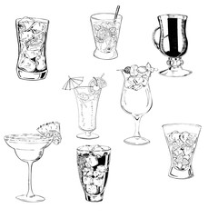 Set of cocktails isolated on white background. Hand drawn vector illustration.