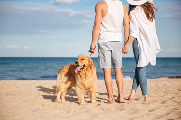 Couple holding hands and walking with dog on the beach