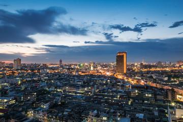 Cityscape of Bangkok city in evening