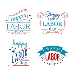 Happy Labor day. Set of badges and labels. Typography concept design for t-shirt, print, card. Vector illustration