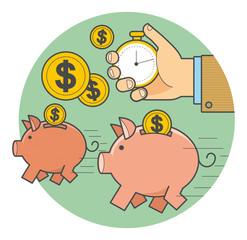 Векторная иллюстрация в стиле линейный флэт дизайн: быстрые деньги, бегущая свинья копилка с монетами, рука с секундомером отмеряет время.