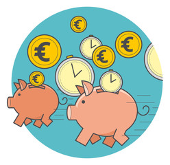 Векторная иллюстрация в стиле линейный флэт дизайн: быстрые деньги, бегущая свинья копилка с монетами и временем.