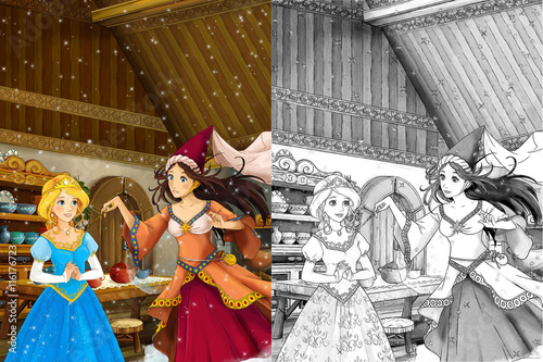 Cartoon scene in the old traditional kitchen  two women talking