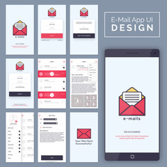 E-Mail Mobile App UI, UX and GUI template layout.
