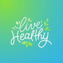 Vector logo design template with hand-lettering text - live heal