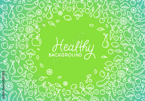 vector design template with line icons healthy background