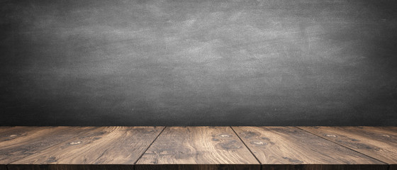 wooden table / blackboard