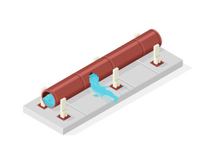 Isometric vector illustration icon of a leaking industrial water supply pipe.