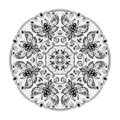 Night Moths Black And White Mandala