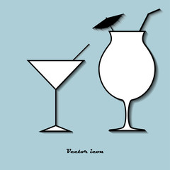 Set icon glass of cocktail on a blue background