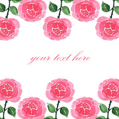 Card with hand drawn watercolor pink roses on a white background