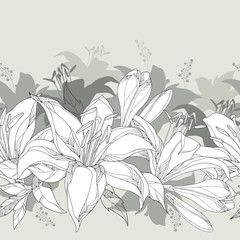 Seamless pattern with ornate white Lily flower, buds and leaves on the pastel gray background. Elegance floral background with lilies in contour style for summer design.
