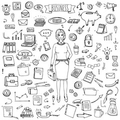 Hand drawn doodle Business set. Vector illustration. Finance and communication icons. Economic charts symbols collection. Freehand elements: money, telephone, laptop, bag, arrow, clock. Business lady.
