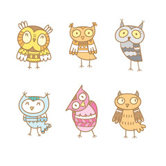Cartoon cute colorful owls set. Six little funny forest birds. Children's illustration. Vector contour image.