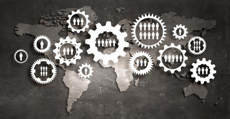 Business teamwork concept . Mixed media