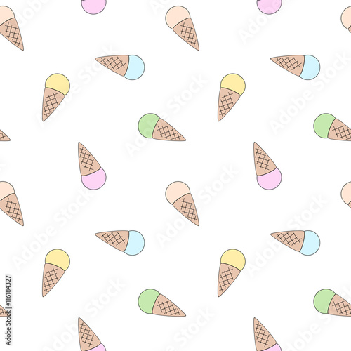 "Sweet Ice Cream Flat Colorful Seamless Pattern Vector: ""cute Flat Cartoon Colorful Cone Ice Cream Seamless Vector"