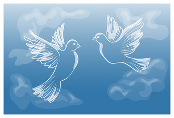 Flying pigeons in the sky, vector illustration