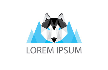 low poly logo - geometric polygonal husky dog head and blue moun
