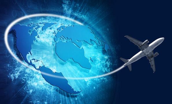 Blue vivid image of globe and travel airplane