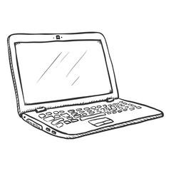 Vector Single Sketch Open Laptop