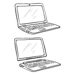 Vector Set of Two Sketch Laptops. Regular and Transformer ones.