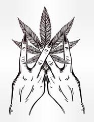 Hand and fingers with Marijuana leaf.