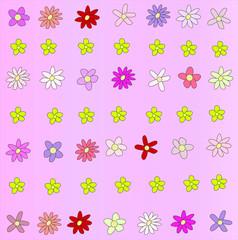 Fundo rosa floral com flores de cores e formas sortidas