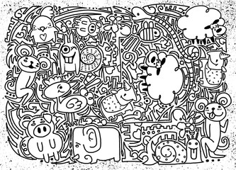 drawings of doodle animals,vector