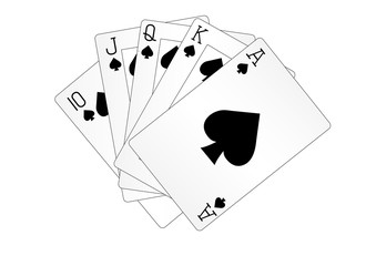 Royal straight flush playing cards poker hand