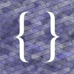 Curly Bracket Icon Isolated on Blue Brick Background