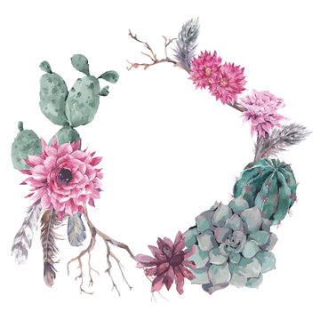 Floral wreath with branches and succulent