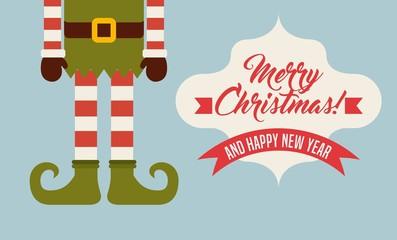 elf legs cartoon icon. Merry Christmas design. Vector graphic