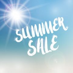Summer sale template on blurred background