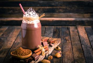 Foto op Canvas Chocolade Chocolate milkshake with whipped cream