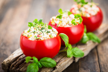 Stuffed tomatoes with cheese and basil