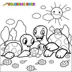 Cute turtles coloring book page
