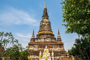 Temple ancient place of worship famous at wat yaichaimongkol, ayutthaya, thailand