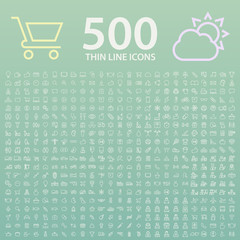 Set of 500 Standard Universal Minimalistic Elegant Modern Thin Line White Icons on Color Background Buttons.