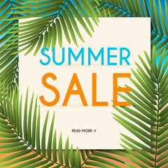 Summer Sale Banner with tropical plants. Poster, Flyer. Blurred