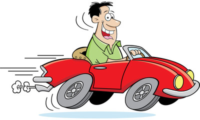 Cartoon illustration of a man driving a car.