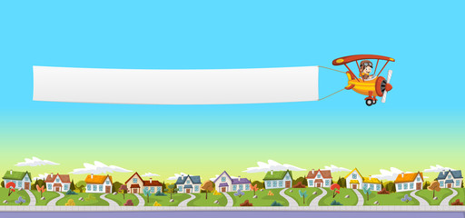 Cartoon pilot boy. Airplane pulling a banner over suburb neighborhood. Green park landscape with grass, trees, and houses.