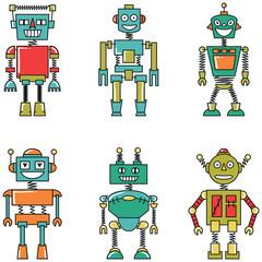 Retro vector colorful smart robots set